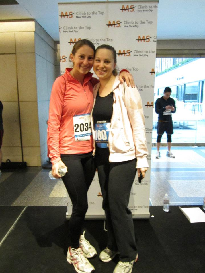 Lori Feren, right, poses with sister Pam at the 2012 Climb to the Top event.